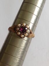 Delightful Rare Victorian 15ct Hand And Heart Almandine Garnet & Seed Pearl Ring