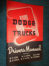 1951 / 1952 DODGE CAB OVER TRUCK OWNER'S MANUAL / ORIGINAL B3 GUIDE BOOK