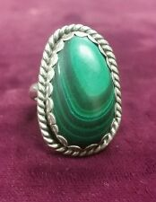 Native American Sterling Silver & Green Malachite Ring Size 8
