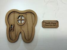 Tooth Fairy 3D Fairy Door Kit + TOOTH FAIRY PLEASE STOP HERE Sign & Accessories