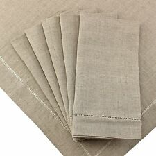 """6 Pack - 100% Pure Linen 20"""" Dinner Napkins - Hemstitched Natural Color"""