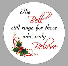 24 x SMALL CIRCULAR ROUND POLAR EXPRESS BELL POEM LABELS STICKERS XMAS NOVELTY A