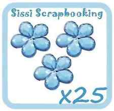 LOT DE 25 FLEURS BLEU STRASS A COLLER 9mm SCRAPBOOKING
