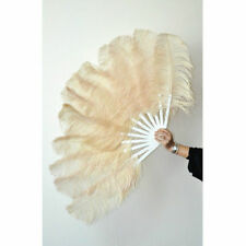 "Beige Burlesque fan 2 layers Ostrich Feathers 54"" dancing fan with gift box"