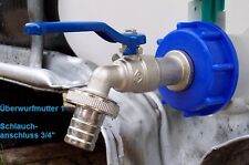 """IBC adapter with ¾"""" cap lever tap valve for rain water tank TOPSELLER #8 *B"""