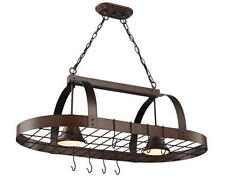 "New 2 Light 36"" Oil Rubbed Bronze Ceiling Island Pot Rack Light Kitchen Pan"