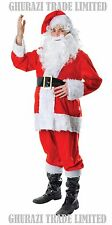 SERIOUS SANTA FATHER FUR 7 Pcs CHRISTMAS DELUXE  COSTUME XMAS MENS FANCY DRESS