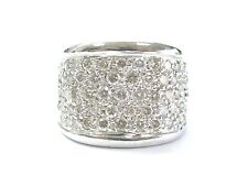 Fine Round Cut Diamond WIDE Pave White Gold Ring 1.66CT