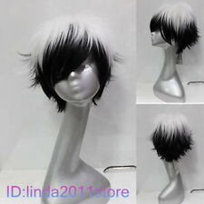 New white and black mix short Cosplay wig + Free wig cap NO:A74