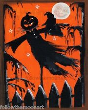 Scary Scare Crow Moon Face   Pumpkin Patch Spooky Harvest Cat Halloween print