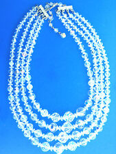 Crystal Bead Aurora Borealis Necklace 4 Strand 17.5