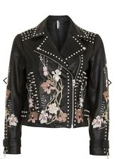 NWT Topshop Boutique SOLD OUT Embroidered Studded Black Genuine Leather Jacket
