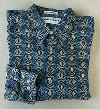 Jhane Barnes Black Turquoise Tan Swirls Shirt Long Sleeve Large L JAPAN WOVEN