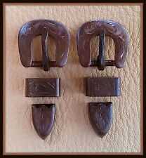 "2 - 1/2"" Hand Engraved / Handmade Iron Buckle Sets  - Spur Straps Headstall  #5"
