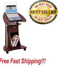 Office Portable Laptop Rolling! Desk Adjustable Table Cart Computer Mobile Stand