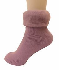 3 Pack of Ladies Bed Socks ~ Lilac, Cream and Pink