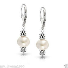 Fashion Natural 7-8mm White Pearl 925 Sterling Silver Leverback Earrings Hook