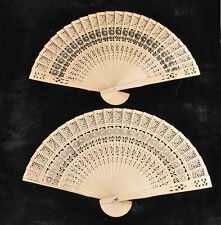 Wooden Carved Hand Fans retro Bamboo Fan Folding for Outdoor Wedding Party Favor