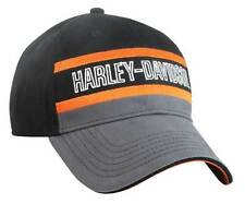 Harley-Davidson Mens Colorblocked Stripe Baseball Cap Black/Gray/Orange BCC51690