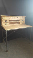 NEW PROVINCIAL INDUSTRIAL RUSTIC WOODEN ANTIQUE STUDY DESK TABLE with SHELVES