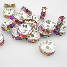 Free shipping 20pcs 8MM Plated silver crystal spacer beads Jewelry Making No.14