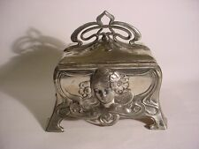 Wonderful  JUGENDSTIL WMF Art Nouveau Silverplate JEWEL CASKET  with Maiden.