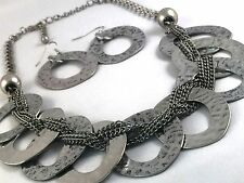 Necklace Earring Set Antique Silver Tone Hammered Rings Chain Earwire Hooks S136
