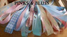 10MM TO 25MM PINKS and BLUES BABY RIBBON BUNDLE 10 X 1 MTR BY BERISFORDS