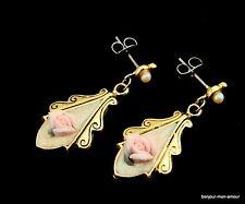 Shabby Vintage faux mini Perlen Rosen Ohrstecker Ohrringe Romantik,Rose Earrings