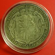 1921 XF HALF CROWN GEORGE V BRITISH SILVER COIN PROTECTIVE CAPSULE