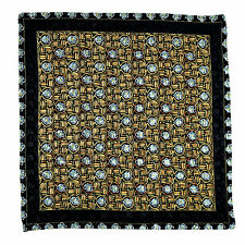 SANTOSTEFANO Handmade Black Yellow Blue Silk Pocket Square Handkerchief $150!