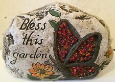Bless this garden Rock, Latex Only Concrete Mold, cement, plaster