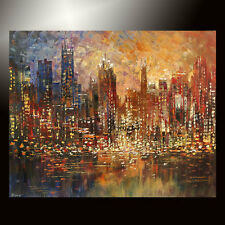 Giclee of CHICAGO painting original CITY skyline canvas 9/50 signed TATIANA art