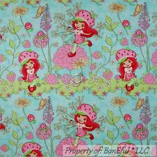 BonEful FABRIC FQ Cotton Quilt Blue Strawberry Shortcake Doll Girl Flower Stripe