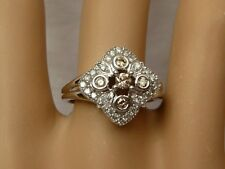 14k Affinity Diamond Ring Cocktail 0.58TCW Champagne & White 5.1gr WG Sz 7.5