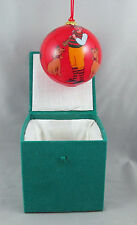 Reverse Painted Dog Paw Print Man Horn Glass Ball Christmas Holiday Ornament Box