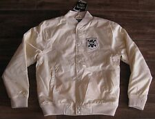 STUSSY BOMBER JACKET BUFF CREAM MENS MEDIUM M MD THERMOLITE WHITE SATIN 015623