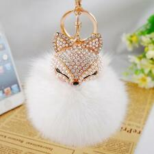 Cute Women Fox Fur Ball Artificial Fox Head Rhinestone Key Chain Creative Gifts