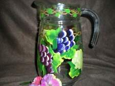 HAND PAINTED WATER PITCHER/4 ICE TEA GLASSES  MULTI GRAPE SET