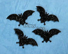55 mm Glitter Bat Halloween Appliques Crafts Head Hair Costume x 10 Black #2433
