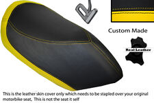 YELLOW & BLACK CUSTOM FITS PEUGEOT JETFORCE 50 125 FRONT LEATHER SEAT COVER