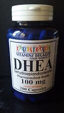 DHEA 100mg 200 Capsules Pharmaceutical Grade Boosts Metabolism Healthy Aging