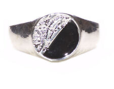 Ladies Silver / Black Chinese Caliography Inspired  Peace Theme Ring (Zx66)