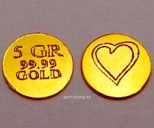 Echter HERZ GOLDBARREN 5 GR = 0,324 Gramm (999,9 Gold Barren Geschenk Liebe) NEU