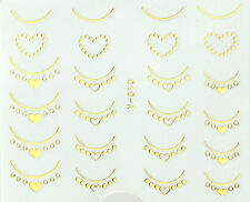 Gold Hearts French Nails Water Transfer Nail Art Stickers Decals Gel Polish