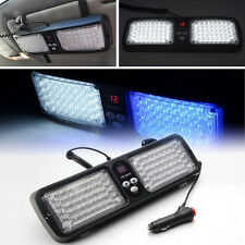 86LED Blue & White Car SUV Sun Visor Emergency Warning Flash Beacon Strobe Light