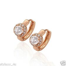Charming Earrings! Hot Adorable 18K Rose Gold Plated CrystalHoop Huggie Earrings