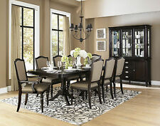 HUNTER - 9pcs GRAND TRADITIONAL BLACK RECTANGULAR DINING ROOM TABLE CHAIRS SET
