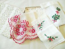 Boxed Lot of 3 Vintage Handkerchiefs Ladies Hankies Embroidered Christmas Floral