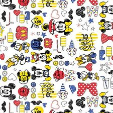 "Camelot Disney Mickey Mouse & Friends White 100% cotton 43"" fabric by the yard"